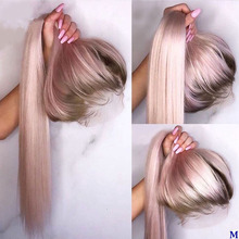 Peruvian Ombre Pink Hair Silk Top Lace Front Human Hair Wigs