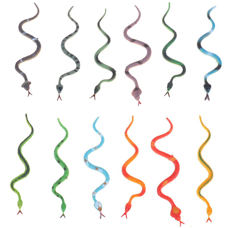 12Pcs Plastic Snake Model Funny Scary Snake Kids Gag Prank Funny Favor Toys Halloween Prank Prop For Decor High Simulation Toy