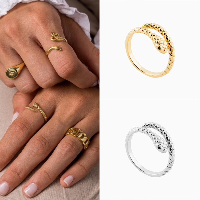 ROXI Brand Fashion Jewelry Rings For Women  S925 Sterling Silver Cold Wind Personality Opening Ring Creative Snake Ring