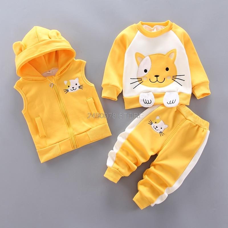 Baby Boys Girls Christmas Autumn Warm WaistCoat + Sweatshirt + Pants 3Pcs Infant Kids Children Sports Suit Toddler Clothes W168 4