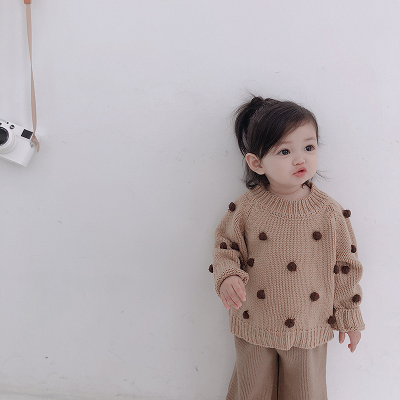 Image 4 - Girls' autumn winter pullover sweaters toddler baby clothing litttle 3D balls  long sleeved babies sweaters kids knitwear 1 5T-in Sweaters from Mother & Kids