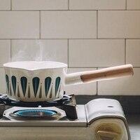 1L Enamel Milk Pot Leaves Pattern Baby Food Cooking Pot Pan Skillet Wooden Handle Small Soup Pot Oil Fryer Fondue Pots     -