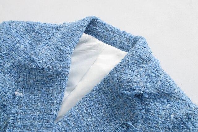 Toppies 2020 bleu twill tweed veste vintage treillis femmes costume vestes dames asymétrique double boutonnage manteau 3
