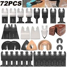 72 PCS/Set Oscillating Multitool HCS Saw Blades Accessories Kit Home Oscillating Multitool Blades for Fein Multimaster Dewalt