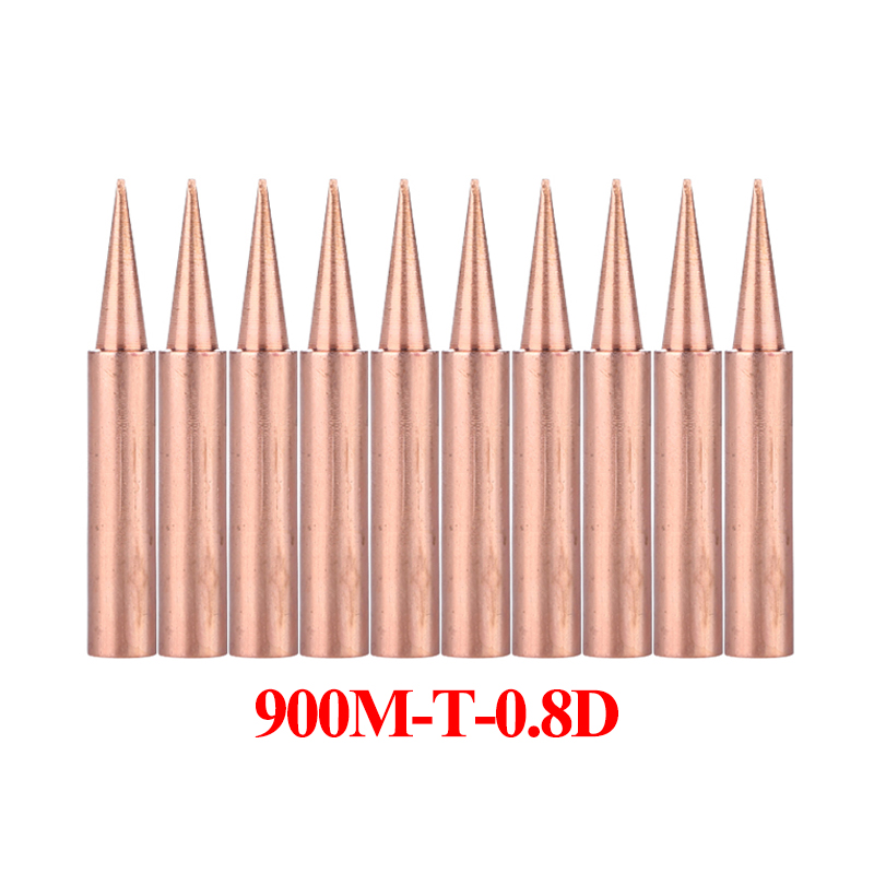 10Pcs/lot <font><b>900M</b></font>-<font><b>T</b></font>-<font><b>0.8D</b></font> Soldering Iron Tip Pure Copper Lead-free Welding Sting BGA Soldering Tools image