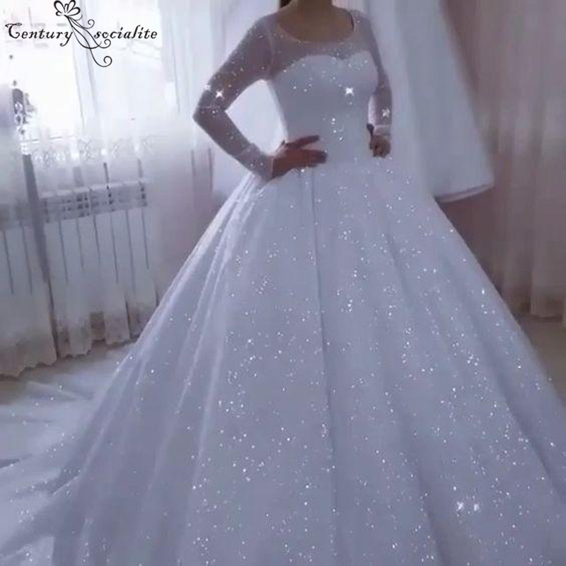 Vestido De Noiva Shiny Princess Wedding Dresses 2019 Ball Gown Long Sleeves Lace Up Back Plus Size Bridal Gowns Bride Dress
