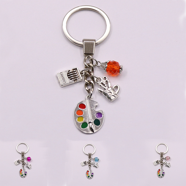 1Pcs Painters Tools-Palette&Brush Keychain With Bead Jewelry Tibetan Silver Charm Pendant Key Chain Ring DIY Fit Keychain