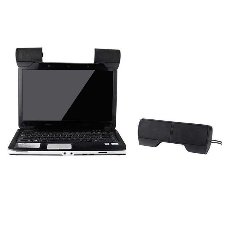 มินิUSBสเตอริโอแบบพกพาลำโพงSoundbarสำหรับโน๊ตบุ๊คแล็ปท็อปMp3 โทรศัพท์เครื่องเล่นเพลงPCพร้อมคลิปสีดำ
