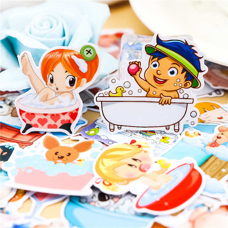 40pcs Creative Kawaii Cute Hands Handsome Girls Bathe Scrapbooking Stickers /decorative Sticker /DIY Craft Photo Albums/Children