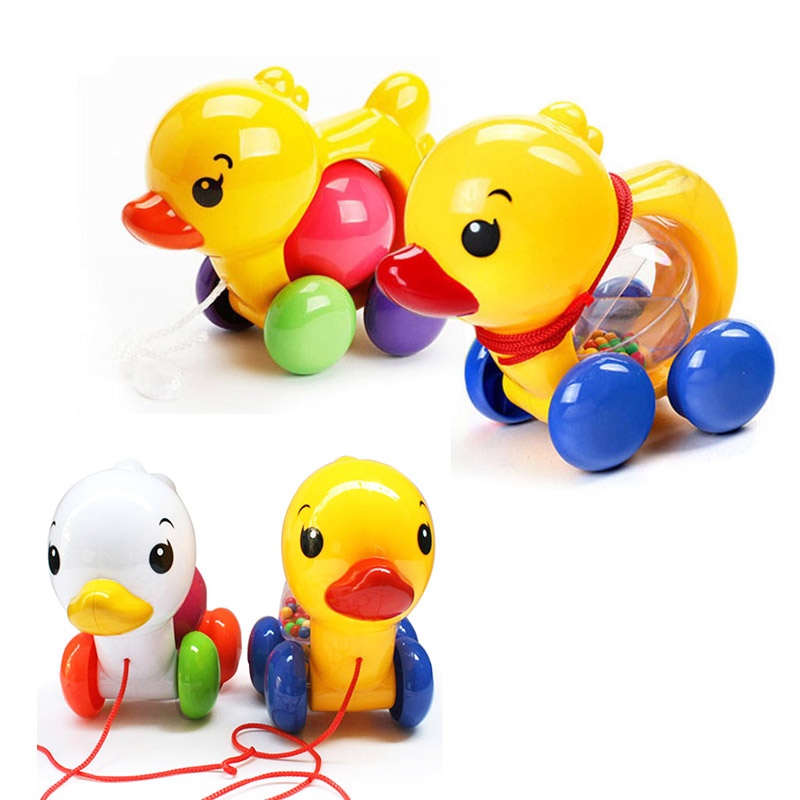 NEW Toddler Fun Pull Along Small Duck With Rattles Toy Kids Baby Learn Walk Plastic Cute Toys Random Color 1PC