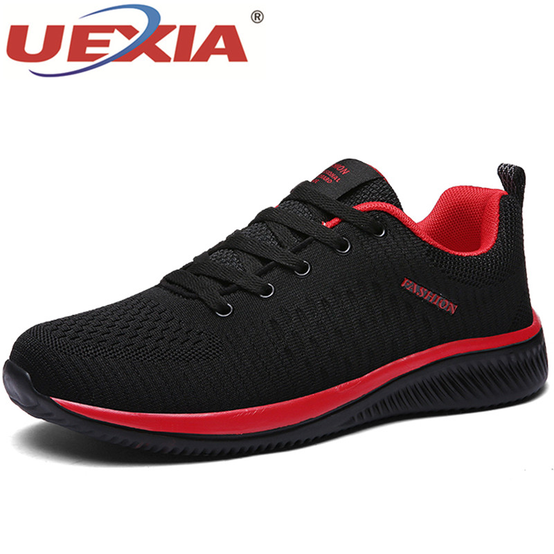 UEXIA Shoes for Men Summer Mesh Men Sneakers Lace Up Low Top Hollow Footwear Breathable Sale Sport Trainers Zapatillas Hombre