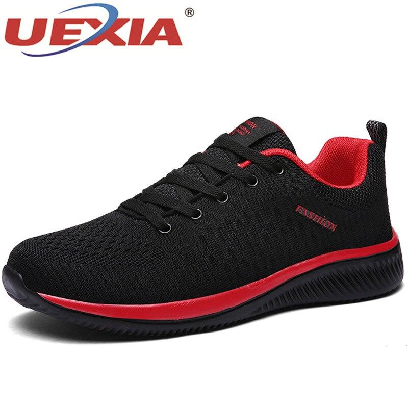 Uexia 남성용 신발 여름 메쉬 남성 스니커즈 레이스 업 로우 탑 중공 신발 통기성 세일 스포츠 트레이너 zapatillas hombre