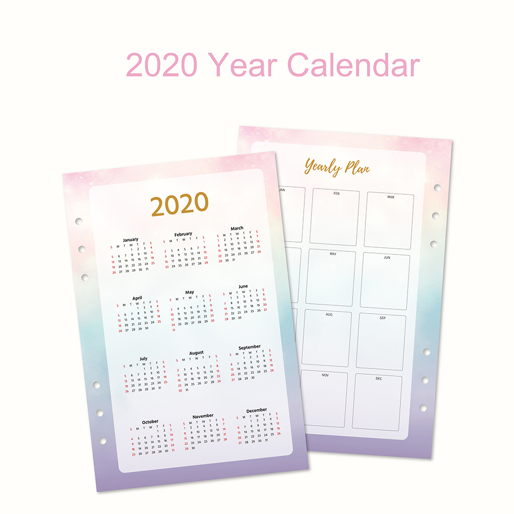 Fromthenon 2020 Year Calendar Binder Spiral Notebook Index Divider A5A6 Planner Diary Monthly Plan Agenda Organizer Stationery