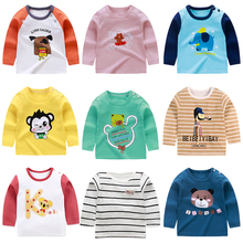 Fashion Cotton T-Shirts Baby Boys Girls Long Sleeve Cartoon Print T shirts Children Kids Tops Clothing Boy Autumn 6M-6T