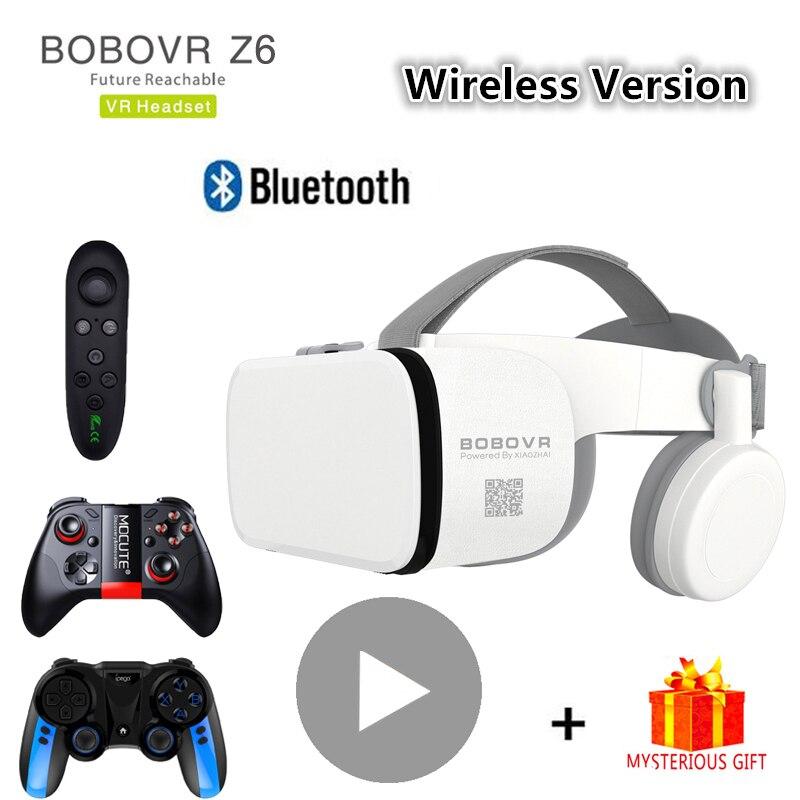 Bobo bobo z6 bluetooth casque capacete 3d vr óculos realidade virtual fone de ouvido para smartphone telefone inteligente óculos viar binóculos