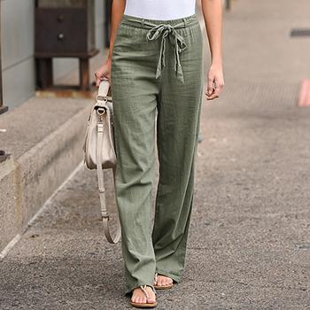 Spodnie CALOFE damskie spodnie szerokie nogawki jednolity kolor Bow Sash wysoka talia spodnie szerokie nogawki damskie spodnie bawełniane długie spodnie luźne spodnie tanie i dobre opinie Poliester Kostki długości spodnie women pants Stałe Na co dzień Cargo pants Mieszkanie Osób w wieku 18-35 lat Kieszenie