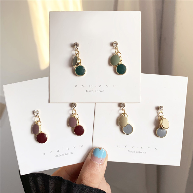 Korean Fashion Pink Gray Beige Contrast Color Round Drop Earrings Simple Small Disc Pendent Earrings for Women Girls Ear Jewelry