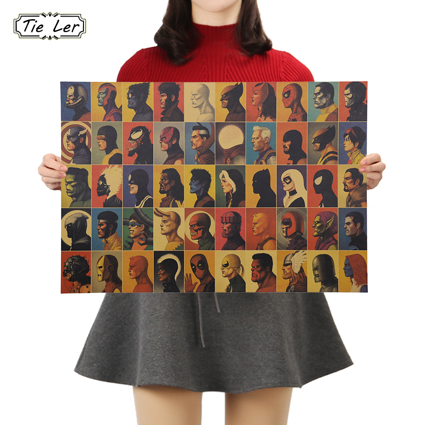 TIE LER Vintage Classic Marvel Movie The Poster Poster Bar Cafe Home Kraft Paper Decorative Painting Wall Sticker 50.5x35cm