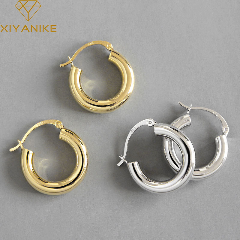 XIYANIKE Minimalist 925 Sterling Silver Stud Earrings for Women Couples Jewelry Trendy Elegant Party Accessories Prevent Allergy