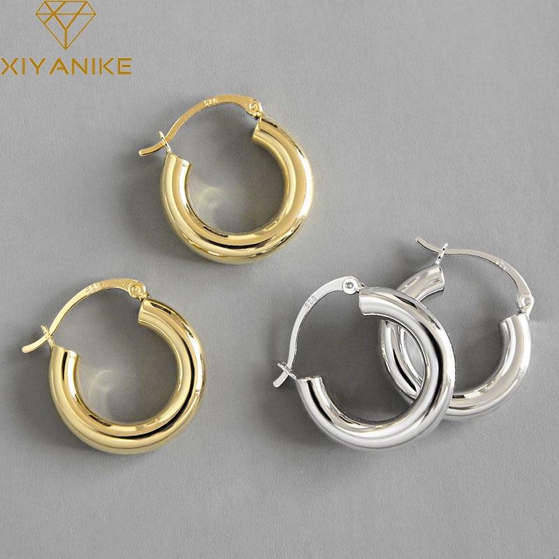 XIYANIKE minimalistyczny 925 kolczyki sztyfty ze srebra wysokiej próby dla kobiet pary biżuteria Trendy eleganckie akcesoria imprezowe zapobiegają alergii
