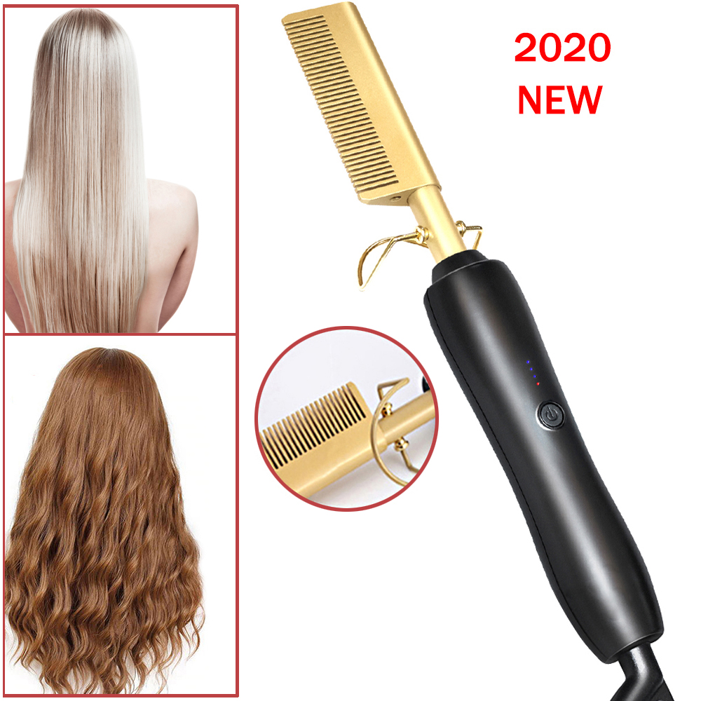 Hair Straightener Flat Iron Hot Heating Comb Straightener Hair Smoothing Brush Corrugation Curling Hot Comb  Curly Hair Iron
