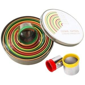 ABUI-12 шт., фрезы для выпечки из нержавеющей стали, металлические круглые кольцевые формы, круглые фрезы для кексов, крошек, пончиков и булочек