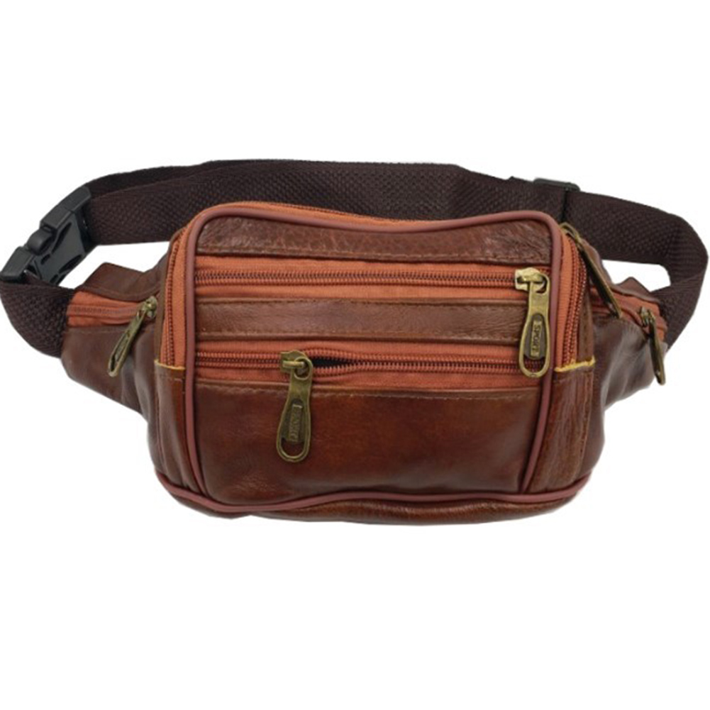Men Waist Bag Leather Waterproof Casual Multi-pocket Design Belt Bag Pouch Travel Hip Purse Pack Travel