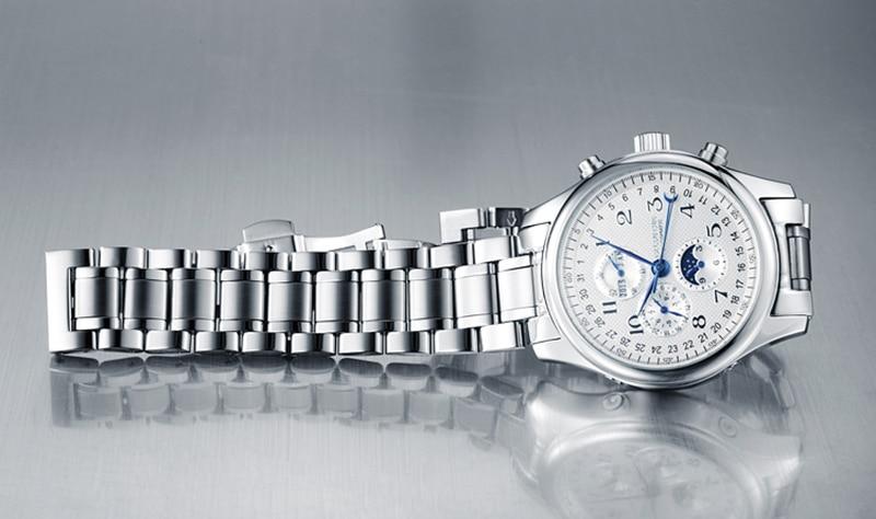 H09ce3e0562bb4040ab02813b9cd9e2e40 GUANQIN Relogio Masculino Automatic Mechanical Men Watches Waterproof Calendar Moon Leather Wristwatch otomatik erkek saat