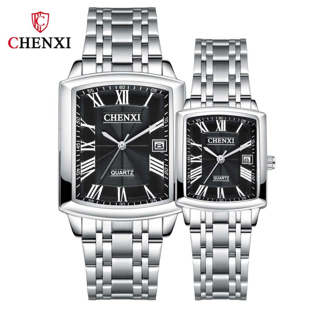 CHENXI Fashion Couples Full Steel Watches Top Brand Luxury Men Women Quartz Watch Waterproof Wristwatch Business Calendar Clock