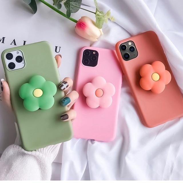 For Xiaomi Redmi Note 8 Pro 7 5 6 4X Case 3D Cute Cartoon Avocado Flower Foldable Holder Cover For Redmi K20 7 8A 6 6A Soft Case
