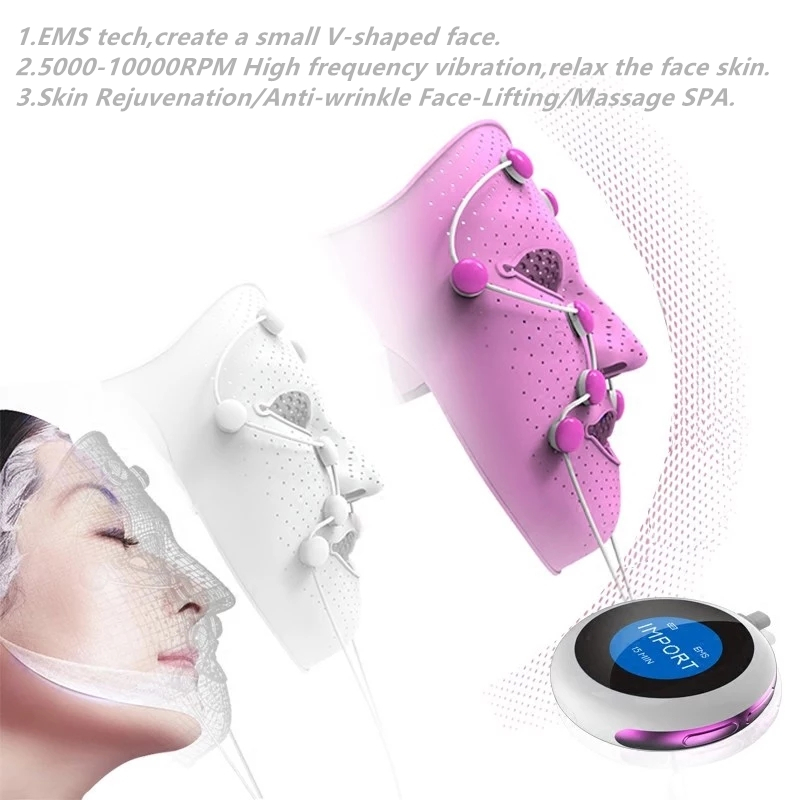 Image 2 - 3D Silicone Facial Mask Electric EMS Vibration Face Massager Skin Rejuvenation Face Care Treatment Beauty Anti age Beauty Spa-in Face Skin Care Tools from Beauty & Health