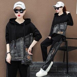 Image 2 - Max lulu outono marca de moda coreana senhoras duas peças conjunto roupas de fitness das mulheres denim topos harem calças suor do vintage treino