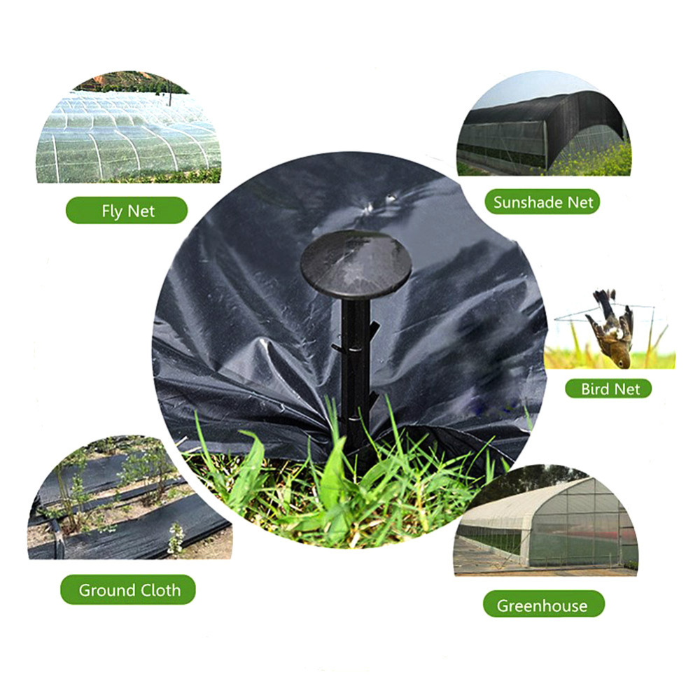 50pcs/Pack Black PP Mulch Shading Pest Control Garden Ground Nail Plastic Film Fixed Pegs Gardening Fixing Tools