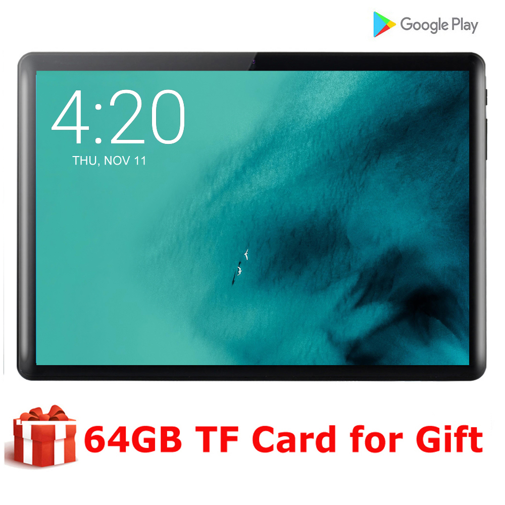 2020 New Tablet Pc 10.1 Inch Android 9.0 Google Play 3G Phone Call Tablets WiFi Bluetooth GPS 2.5D Tempered Glass 10 Inch Tablet