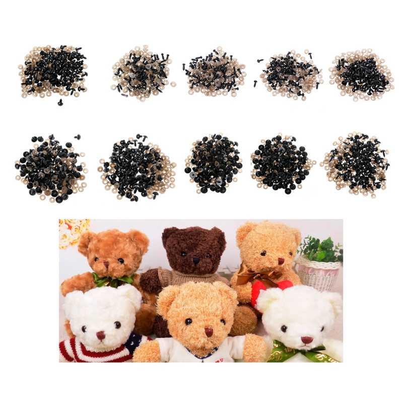 100 ชิ้น/ถุง DIY ตุ๊กตาตาตาตาความปลอดภัยพลาสติกสีดำตุ๊กตาตุ๊กตาเครื่องซักผ้า Y4QA