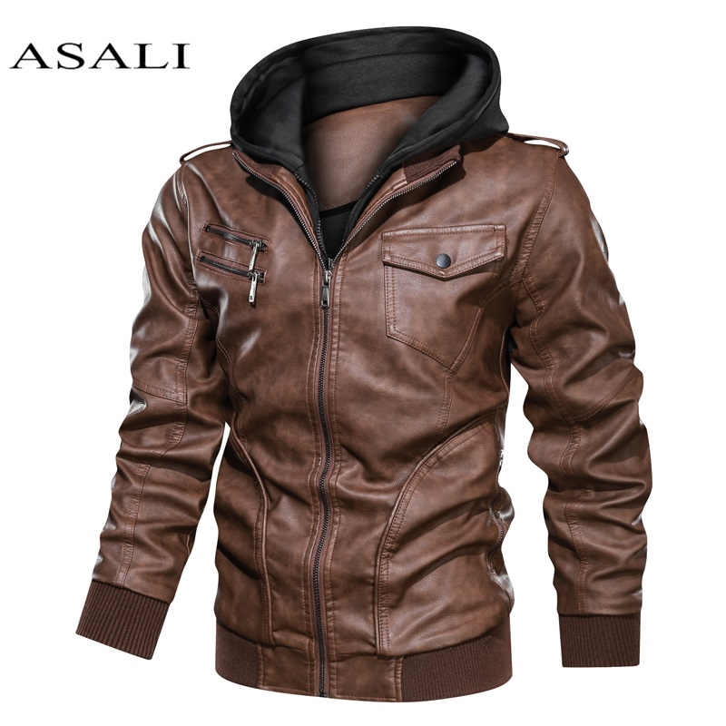 Men Hooded Autumn Winter Warm Casual Real Leather Jackets PU Coats Slim Fit Outerwear Male Zipper Motorcycle Genuine Leather
