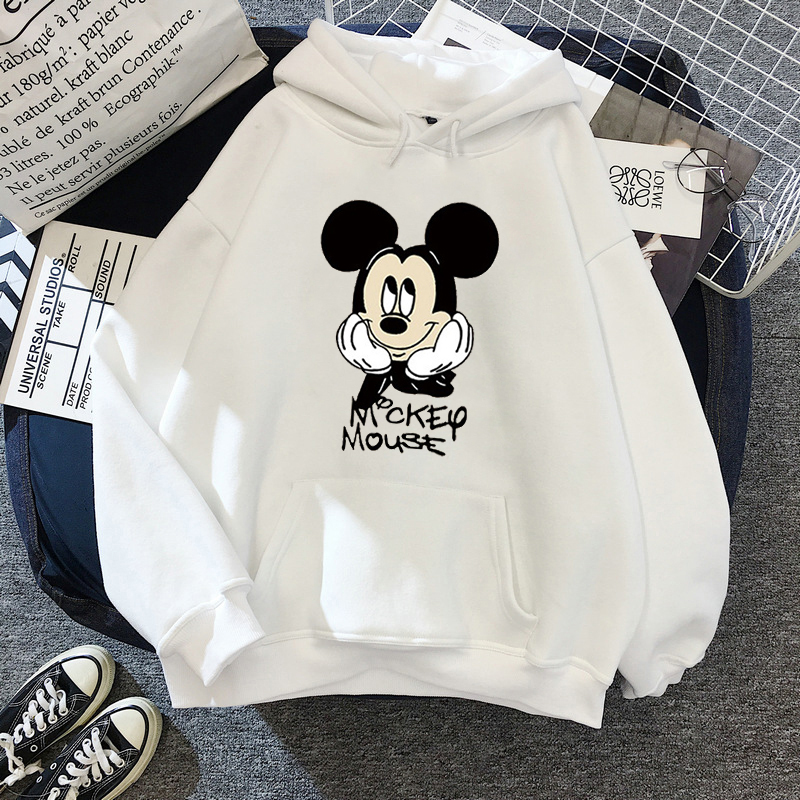 Disney 2021cartoon print sweatshirt women Funny hip hop Mickey Mouse print autumn and winter fashion Harajuku style hoodie women 25