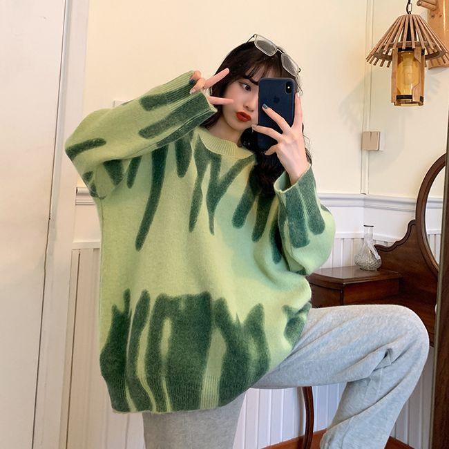 Свитер оверсайз, зеленый пуловер, Женский вязаный свитер, свободные топы, зимняя верхняя одежда с круглым вырезом в стиле Харадзюку
