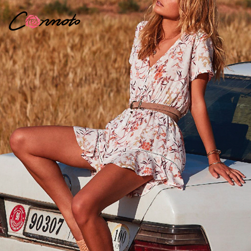 Conmoto Floral Hollow Button Ruffles Beach Women Playsuits Summer Femme Sexy Romper Plus Size Ladies Short Jumpsuit Rompers