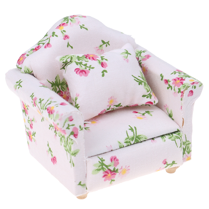 Dollhouse Miniature 1:12 Little Flower Style Living Room Dolls Furniture Sofa Couch With  With Pillow