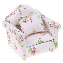 Кукольный домик, Миниатюрный 1:12, маленький цветок, стиль, гостиная, куклы, мебель, диван, с подушкой