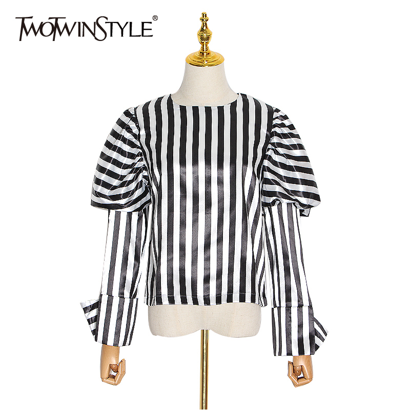 TWOTWINSTYLE Stripe Hit Color Vintage Shirt For Women O Neck Puff Sleeve Streetwear Blouse Female Spring Fashion New 2020