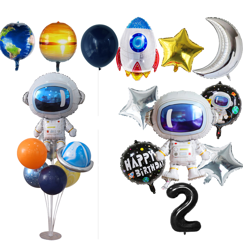 Weltraum Party Astronaut Luftballons Rakete Folie Ballons Galaxy Thema Party Boy Kinder Geburtstag Party Decor Helium Globals