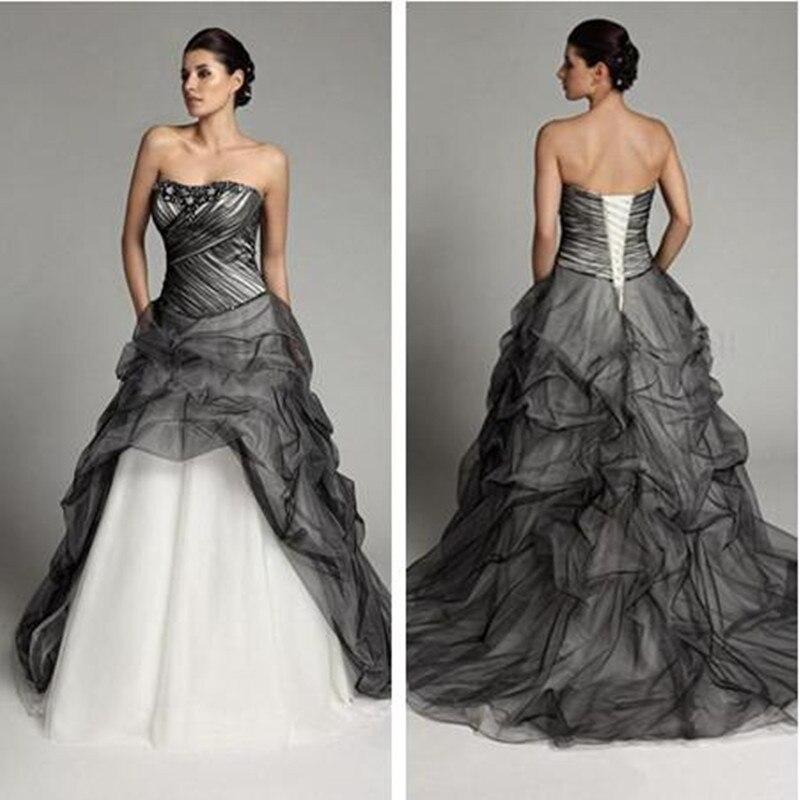 Black And White Wedding Dresses 2020 Gothic Vintage Ruffles Princess Bridal Gowns Pleats Retro Vestidos De Novia Gelinlik Marria