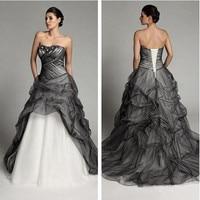 Black and White Wedding Dresses 2019 Gothic Vintage Ruffles Princess Bridal Gowns Pleats Retro Vestidos de Novia gelinlik marria