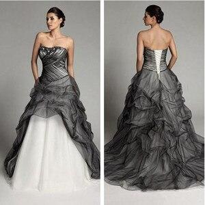 Image 1 - Robe de mariée gothique Vintage, à plis noirs et blancs, robe de mariée à volants, à plis, robe de mariée, 2020