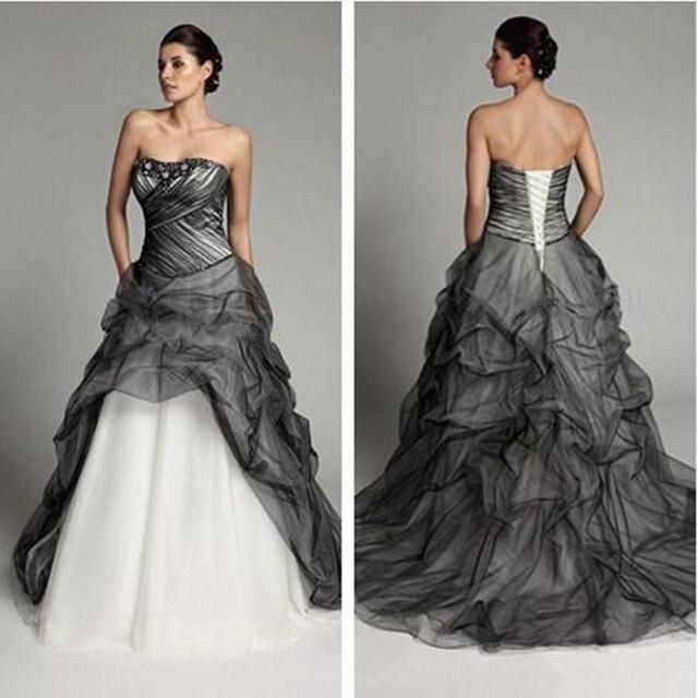 Robe de mariée gothique Vintage, à plis noirs et blancs, robe de mariée à volants, à plis, robe de mariée, 2020
