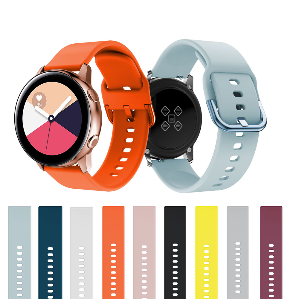 20mm Silicone Watchbands For Samsung Galaxy Watch Active 2 40mm 44mm Smart Sport Strap For Samsung Galaxy Watch 42mm Watch Strap