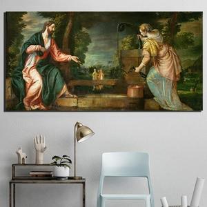 Infantil jesus e joão batista pinturas para sala de estar cartaz quadros em tela na parede decoração casa