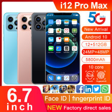 New Global Version i12Pro Max 6.7inch U-Screen Smartphone 5800mAh 12+512G Support Face Unlock Dual SIM Network Android Cellphone